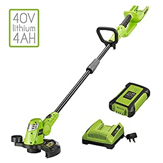 Aerotek 40V Cordless Battery Powered Electric Grass Trimmer Lightweight with Extra-large 250mm Cutting Length (40v Grass Trimmer, Battery & Charger)