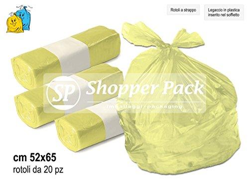 Sacchetti per la spazzatura, rifiuti, raccolta differenziata - cm 52x65 - N° 100 sacchi (5 rotoli x 20 strappi). Colori Giallo, Viola, Trasparenti. Legaccio di chiusura. Buste in plastica per immondizia e pattumiera. (Giallo)