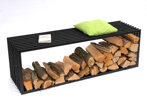 DanDiBo Porte bois de chauffage Banc D-Style 150cm Etagère bois de cheminée 10104 Corbeille bois Porte bois de cheminée