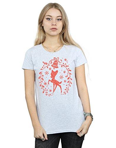Disney Femme Bambi Christmas Wreath T-Shirt Sport Gris