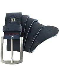 Pierre Cardin Mens leather belt / Mens belt, full grain leather belt XXL, blue