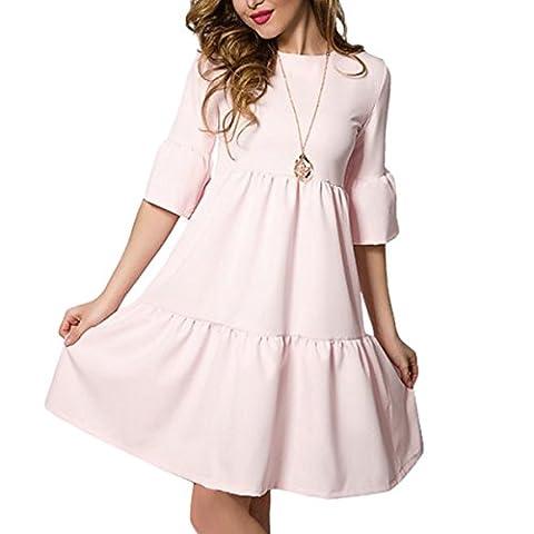 Tomayth Frauen Elegant 3/4-Arm Rüschen Faltenrock Kleid Minikleid Sommerkleid Abendkleid Volltonfarbe Casual Rundhals Knielang A-Linie (L, Rosa)