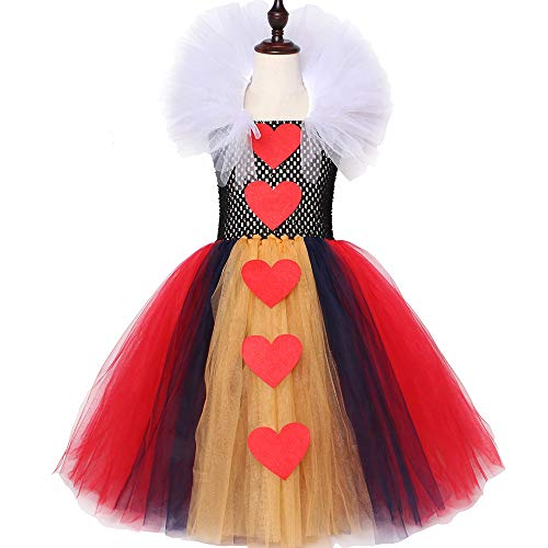 QWER Königin der Herzen Tutu-Kleid-Mädchen-Kind-Halloween-Karneval Kleid Alice im Wunderland-rote Königin Cosplay Mädchen-Partei-Kleid,Red,67Y