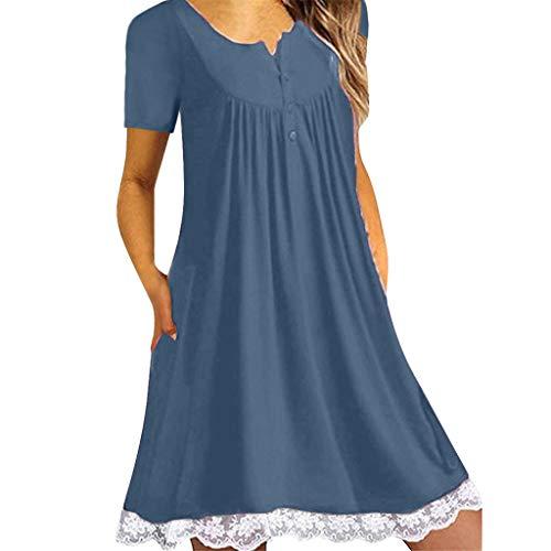 Liusdh Kleid für Damen O-Ausschnitt lässig Knopf ärmellos über dem Knie Kleid lose Party Spitzenkleid(Navy,5XL)