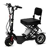 Silla de Ruedas eléctrica Ancianos discapacitados Mini Plegable Triciclo eléctrico Scooter casero 360 ° Giratorio Velocidad Fija Crucero Batería de Litio con Luces