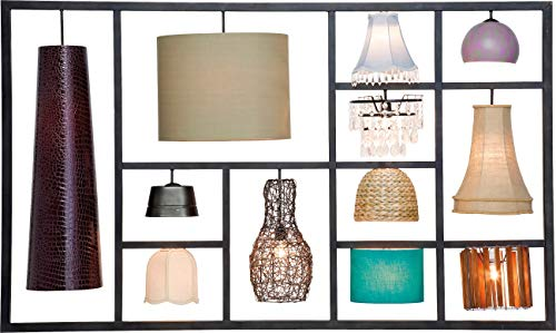 Kare Wandleuchte Parecchi Art House, große Wandlampe mit 12 verschiedenen Lampenschirmen, Wanddeko, Bunt (H/B/T) 110x185x30cm -