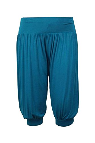 New Ladies Plus Size Ali Baba Baggy Stretch Fit Shorts Womens Plain Cropped Harem Trouser Pants