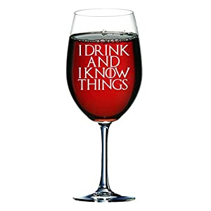 """Lapal Dimension Copa de vino inspirada en Juego de Tronos con texto en inglés """"I Drink and I Know Things (750 ml) 3"""