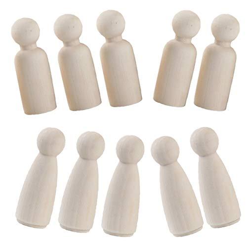 chiwanji 10er pack männliche weibliche Form DIY Holzfiguren Figurenkegel Spielfiguren zum Bemalen Basteln Holz Puppen