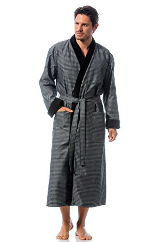 Bugatti, Bademantel für Herren, Größe L, Farbe grau, Kimonokragen, Baumwolle, Größen M - XXL verfügbar (Tasche Vorderseite Auf Kragen Der)
