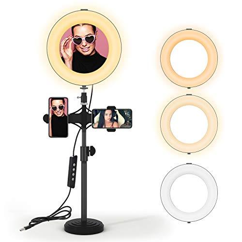 JIM'S STORE Aro de Luz LED 8 Pulgadas Regulable con Trípode y Soporte para Movíl,3 Modos de Luz 3200k-6500k 10 Niveles de Brillo para Youtube Maquillaje Selfie Transmisión y Vivo Grabación de vídeo.