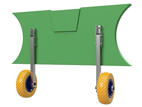 EDELSTAHL Heckräder für Schlauchboot, Slipräder - EasyTrans PU200 YB (gelb/blau)