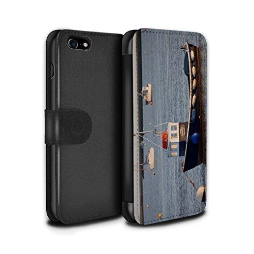 Stuff4 Coque/Etui/Housse Cuir PU Case/Cover pour Apple iPhone 7 / Bateau Bleu Design / Côte de la Colombie Collection Bateau Ancré