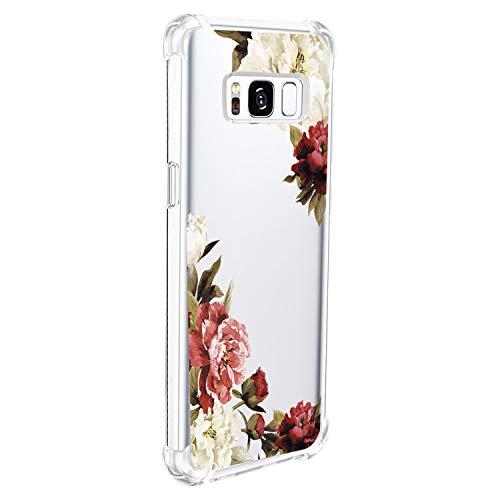 20niay Hülle Kompatibel für Samsung Galaxy S8 Schön Blumen Ultradünn Transparent Tasche Case Weich Silikon Elegant Handyhülle Dauerhaft Anti-Fall Kollision Schutzhülle