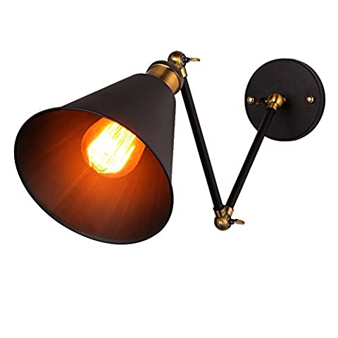 Onepre Vintage Industrial Swing Arm Wall Light Adjustable Retro wall Lamp Flexible arm Wall Sconce with Black Metal Shade