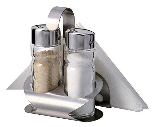 3tlg. Menage Salz & Pfeffer & Serviettenständer (Salz Und Pfeffer Und Serviette)