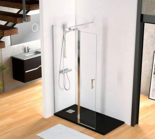 Duschabtrennung im italienischen Stil, Glas mit beweglicher Klappe