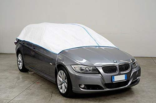 Kley & Partner Auto Abdeckung Halbgarage Plane atmungsaktiv extrem leicht kompatibel mit Hyundai i10 bis 2013 in weiß Exclusiv aus Tyvek mit Lagerbeutel