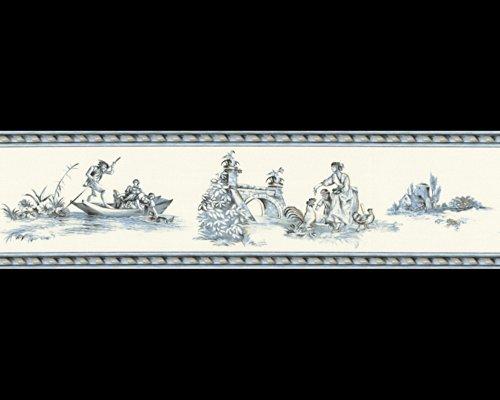 Tapete 8507-13 A.S. Création Tapeten 850713 Borte Château 3 Klassisch blau weiß Landschaft Rokoko...