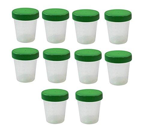 10 Stück Urinbecher 125 ml + Schraubdeckel Farbe Grün Urinprobenbecher Urin Becher Kunststoffbecher