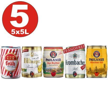 5x5 Liter Fässer Bier No:2- Krombacher, Paulaner Hefe, Münch. hell, Früh Kölsch, Bitburger 4,8-5% -