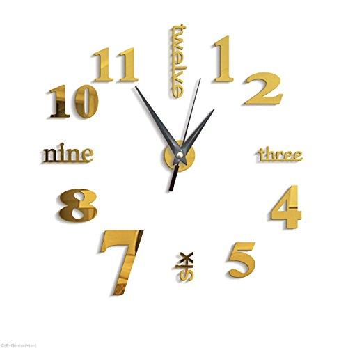 SODIAL 3D Gran Reloj de Pared Espejo Pegatina Reloj Grande Pegatina Decoracion para el Hogar Regalo...