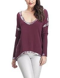 Laura Moretti - Suéter o Jersey fino asimétrico estilo oversized con detalles en plata