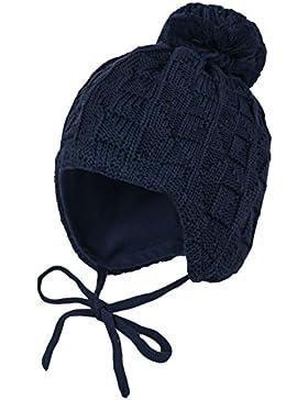 maximo Unisex Baby Mütze, Pompon, Bindeband, Einfarbig