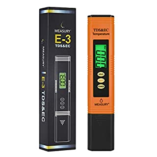 Measury EC Meter Tester TDS Messgerät für Osmoseanlage, Aquarium und Trinkwasser, Leitwertmessgerät mit Thermometer, Leitfähigkeitsmessgerät