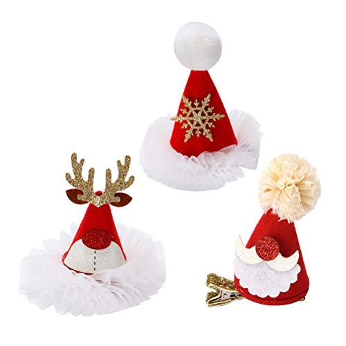 BESTOYARD Weihnachten Santa Hut Haarspangen Gaze Glitter Haarspangen Haarnadeln Xmas Party Haarschmuck 3 Stücke