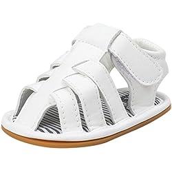 Zapatos Bebe Niño Verano Xinantime Lona Sandalias de Velcro Suela Blanda Zapatos del Antideslizante Zapatos casuales Sneaker Para Recién Nacido Niña Niño (6-12 meses, Blanco)