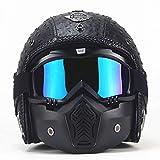 MRDEER Motorradhelm Vintage Handgemachtes Integralhelm Retro PU-Leder Helm Unisex Full-face Scooter-Helm Roller Sturz-Helm mit Visier, Maske, Brille(M,L,XL,XXL),Black,XL