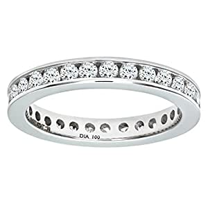 Naava Women's 18 ct White Gold 1 ct Diamond Channel Set Eternity Ring, White Gold, K