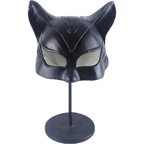 QWEASZER Batman Cat Mask Catwoman Halbe Gesichtsmaske Latex Helm, Film Cosplay Kostüm Zubehör, Halloween Maske Kopf Helm für Erwachsene Frauen Kostüm,Catwoman-42~60cm (Batman Catwoman Kostüm)
