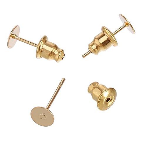 Outus 100 Stück Edelstahl Ohrstecker Kugelkupplung Ohrringe Sicherheitsrücken und Blank Ohrring Pin Studs Findings Posts, Gold
