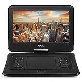 HKC D13HM01: 13 Zoll tragbarer DVD-Player, Full-HD, schwenkbarer Bildschirm, SD-Karte, USB-Anschluss mit Akku, Fernbedienung & Kfz-Ladegerät, schwarz