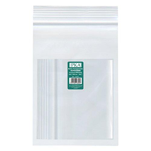 PKA 16397-Confezione da 100 sacchetti di plastica con autocierre, 230 x 320 mm