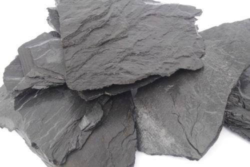 Aquarium Rock Fish Tank Decoration Slate 100% Natural Ideal For Caves BLACK SLATE 10kg Set 3