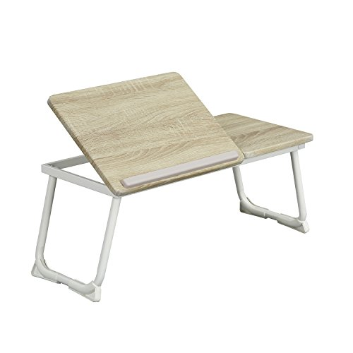 coavas Mesa Base Plegable para Ordenador Portátil Tablet Leer en la Cama Regulable Color Blanco y Madera