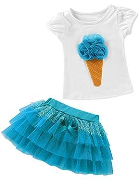 sunnymi 2pcs Babykleidung Mädchen 12M-6Jahr 3D Eiscreme Stil T-Shirt + Pompon Garn Rock