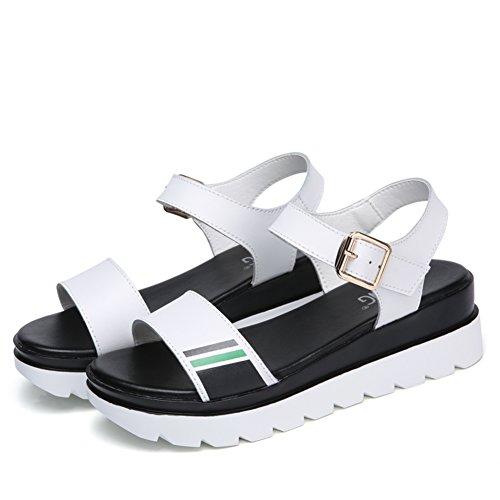 Signora,estate,spessa,scarpe casual/medio heels,semplice,una banda di sandali-A Lunghezza piede=22.8CM(9Inch)