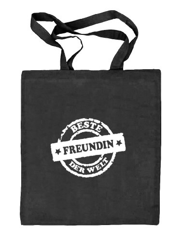 Shirtstreet24, Beste Freundin der Welt Stempel,Valentinstag Natur Stoffbeutel Jute Tasche (ONE SIZE) schwarz natur