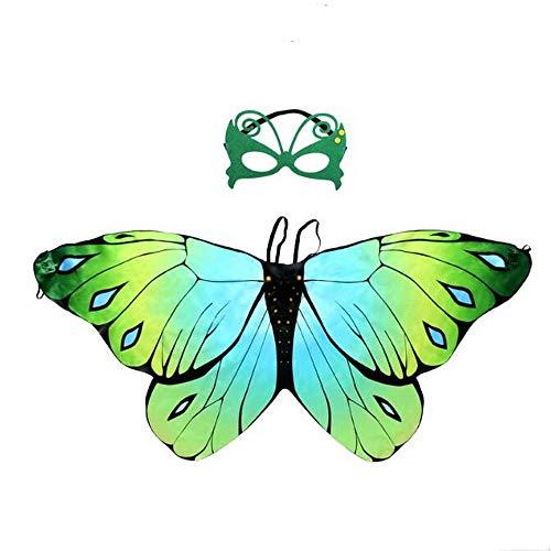 yeesn Mädchen-Kostüm mit Fee, Schmetterlingsflügel, mit Maske, für Halloween, Party, Buttterfly, Umhang für Cosplay, Kostüm, für Kinder von 3-8 Jahren Gr. One Size, - Schule Themen Tanz Kostüm