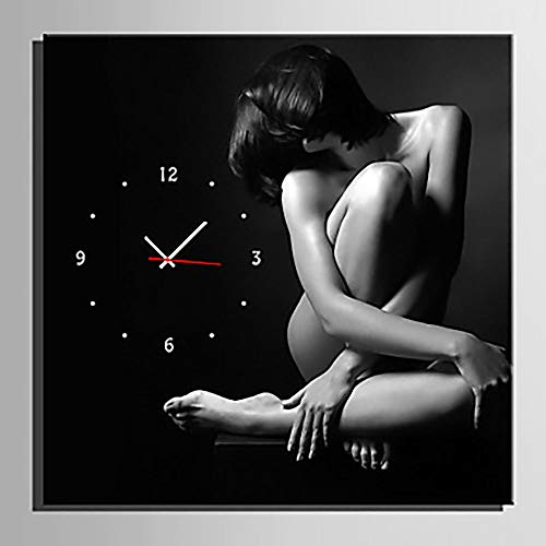 Fashian Modern Style Antique Mahogany Character Background Reloj/reloj de pared cuadrado negro reloj de pared