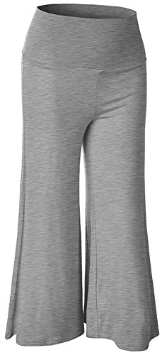 Happy Lily femmes Fond Large jambe Padel Palazzo Bell Yoga pour Femme Taille Haute lightgray