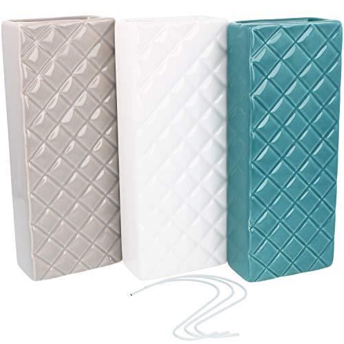 com-four® 3X Luftbefeuchter für Heizkörper aus Keramik zum Befeuchten der Raumluft, mit S-Förmiger Haken zum aufhängen, (03 Stück - Diamant)