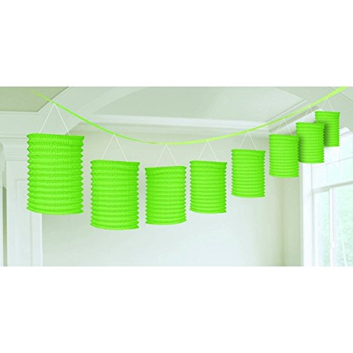 My Party Suppliers Cylindrical Accordion Paper Lantern for Party Birthday Decoration Lime Green -12*15 cm