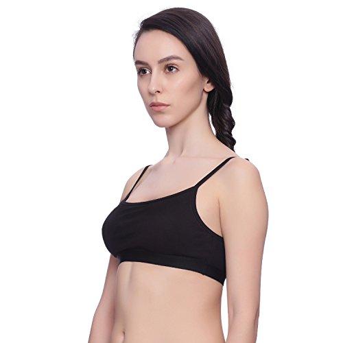 Brag Women's Cotton Padded Bra, Crop Top, Sports Bra for Teenagers Black