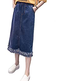 LaoZanA Jupe en Jean Femme Mi Longue Taille Élastique Droite Jupes avec  Gland 35b86a9dc07c