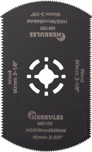 Herkules M5150 Lame de scie HSS M2 pour ponceuse vibrante multifonction pour bois, agglo, plastique, aluminium, tôle d'acier, métaux non ferreux L 80 x l 50 mm 18/14 dpp